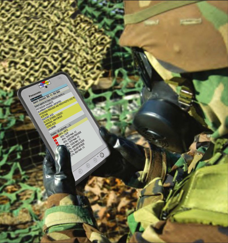 Solider Using HazMasterG3 to assess a suspected HME lab