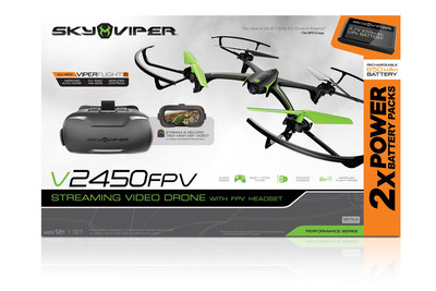 Sky Viper® v2450FPV Streaming Drone with FPV Headset and Bonus Battery