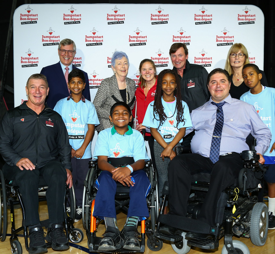 Canadian Tire Corporation announced an unprecedented $50 million dollar investment in accessible and inclusive play through its Jumpstart Charities with Rick Hansen, Stephen Wetmore, Martha Billes, Stephanie Dixon, Wayne Gretzky, The Honourable Kent Hehr, Federal Minister of Sports and Persons with Disabilities along with Jumpstart kids. (CNW Group/CANADIAN TIRE CORPORATION, LIMITED)