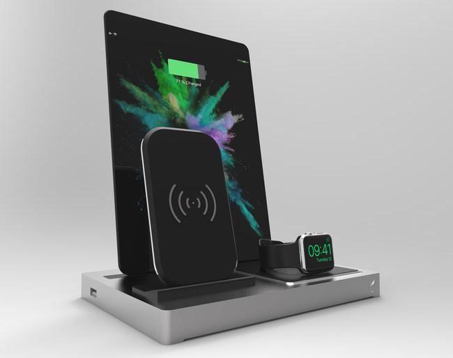 EVOLUS 3 Qi docking station showing Qi module, iPad Air and Apple Watch 3 series