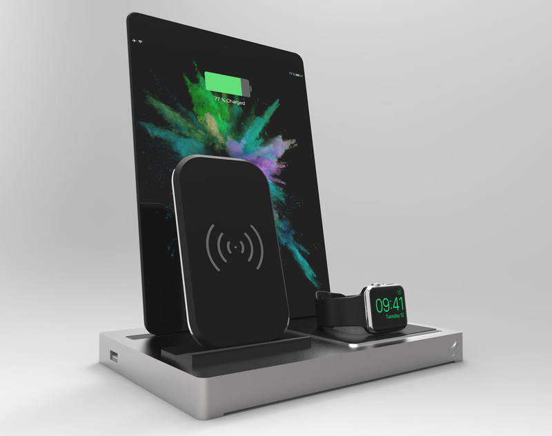 EVOLUS 3 Qi docking station showing Qi module, iPad Air and Apple Watch 3 series