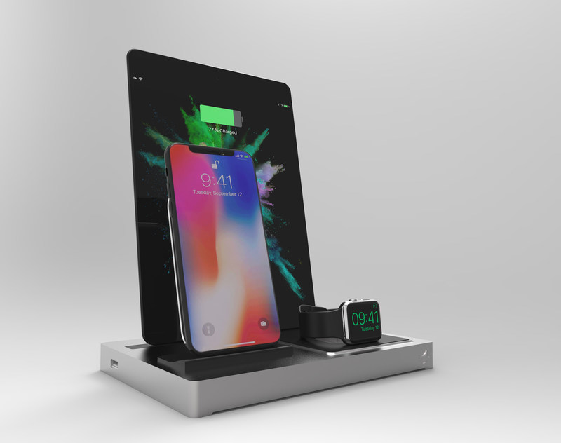 EVOLUS 3 Qi docking station, showing iPhone X, iPad Air, and Apple Watch series 3
