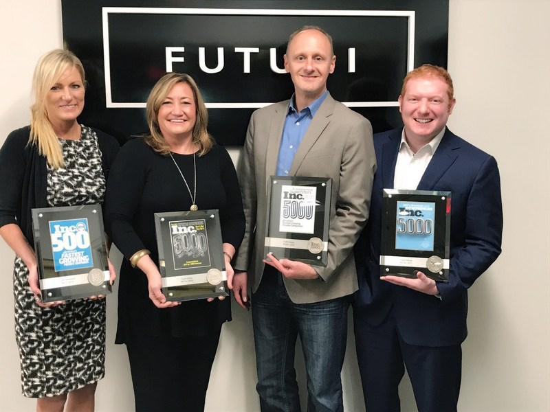 Futuri Media, the foremost innovator in SaaS technology for broadcast media, has been named to the Inc. 5000 List of Fastest-Growing Companies in America for the fourth year in a row. Pictured (L to R): Laura Griffith, SVP Finance; Tracy Gilliam, SVP Sales; Todd Thomas, SVP Operations; and Daniel Anstandig, CEO, Futuri Media