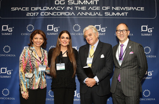 L to R: H.E. Laura Chinchilla, Former President of Costa Rica, Namira Salim, Founder & Chair of 0G Summit, H.E. Luis Alberto Lacalle Herrera, former President of Uruguay and Dr. Lance Bush, President & CEO of Challenger Center