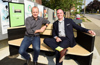 Councillor Mike Layton and Ontario Tire Stewardship Executive Director, Andrew Horsman test The Shaw Bench, created by Sheridan College Industrial Design students using recycled tires, installed at Artscape Youngplace. (CNW Group/Ontario Tire Stewardship)