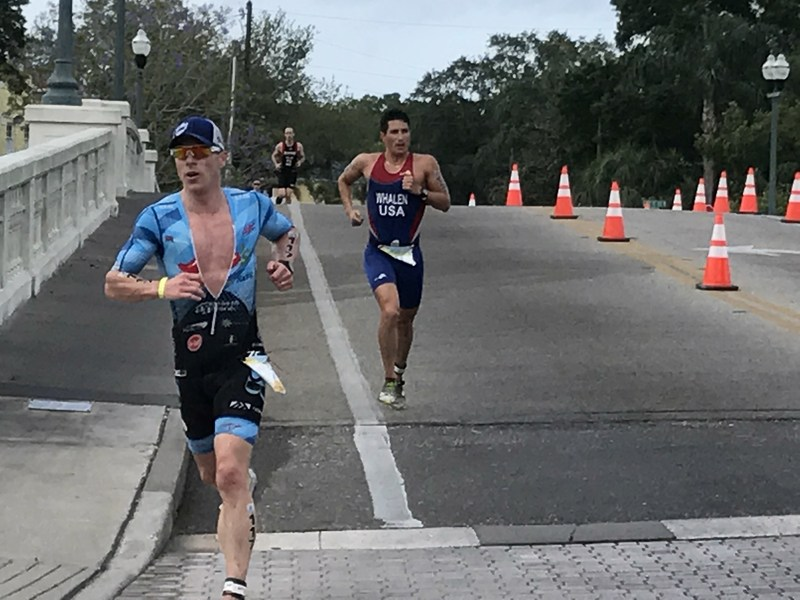 Triathletes race over Coffee Pot Bayou during the 2017 St. Anthony's Triathlon.