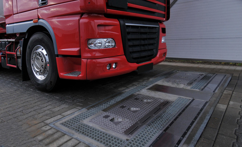A truck prepares to drive over a fully-automated tire inspection system made by Ventech Systems GmbH. The innovative device can quickly and easily check tire pressure, tread depth and vehicle weight. The Goodyear Tire & Rubber Company has agreed to acquire Ventech Systems of Dorsten, Germany, from Grenzebach Maschinenbau GmbH.