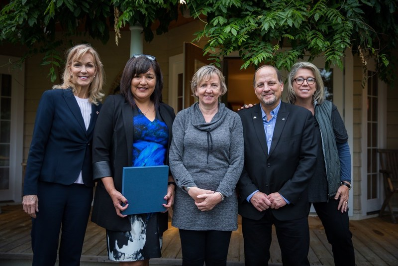Blair Dickerson (Rio Tinto), Tracey Ross (Haisla Nation), Carol Leclerc, (Mayor of Terrace), Philip Germuth (Mayor of Kitimat), Maryscott Greenwood (CEO, Canadian American Business Council)