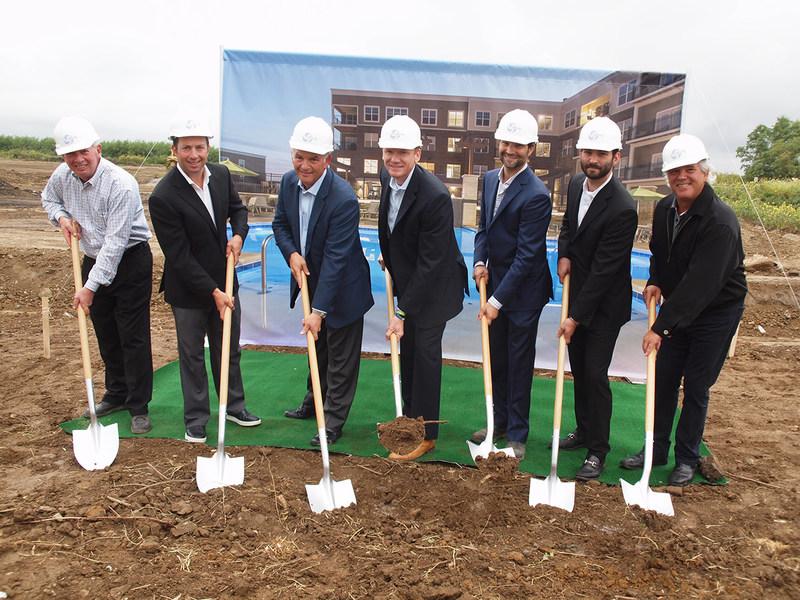 From Left: Hills Principals: Steve Guttman,Brandon Guttman, Louis Guttman, Mills President and CEO Jared Barnett, Hills Principals: Seth Guttman, Jonah Guttman, Harold Guttman
