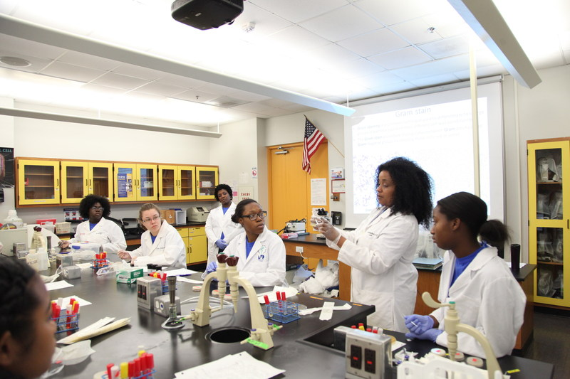 Dr. M. Nia Madison, Assistant Professor at Miami Dade College and 2010 L'Oreal USA For Women in Science Fellow, and high school students from the Miami Dade College Microbiology Girls Club participate in experiments.