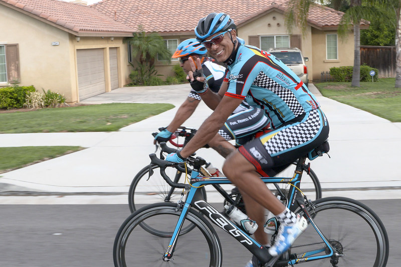 Practicing what he preaches to his patients, Dr. Steven Wilson (front), an MDVIP-affiliated family doctor in Redlands, Calif., hosts a weekly cycling group to encourage his patients to exercise. Credit: MDVIP