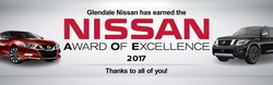 Glendale Nissan has earned the Nissan Award of Excellence for 2017.