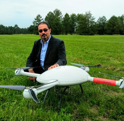 Pictured: Dr. Mohamed Mostafa poses with the Microdrones md4-3000, during a field mission in late August of this year. Mostafa is the head of mdSolutions, the packaged product development team at Microdrones.