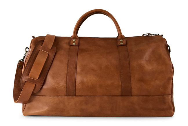 Jackson Wayne Full Grain Leather Duffle Bag in Saddle Tan