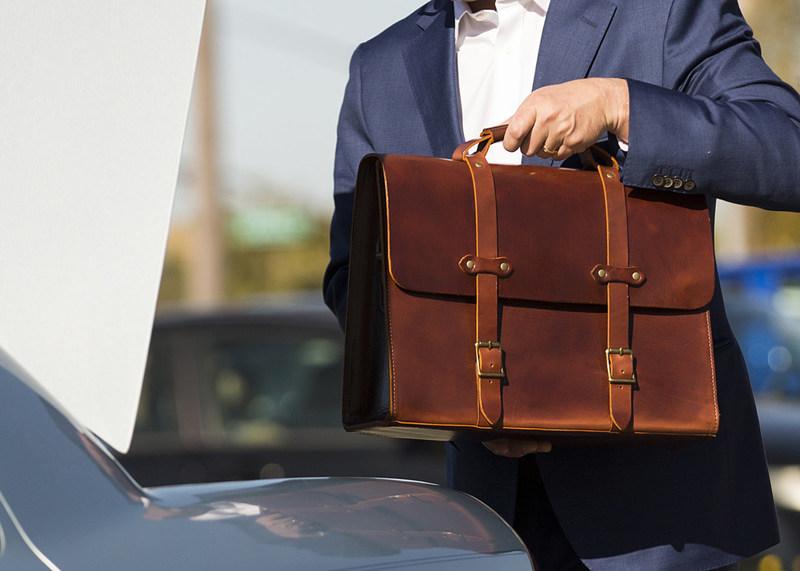 Jackson Wayne Full Grain Leather Briefcase in Vintage Brown