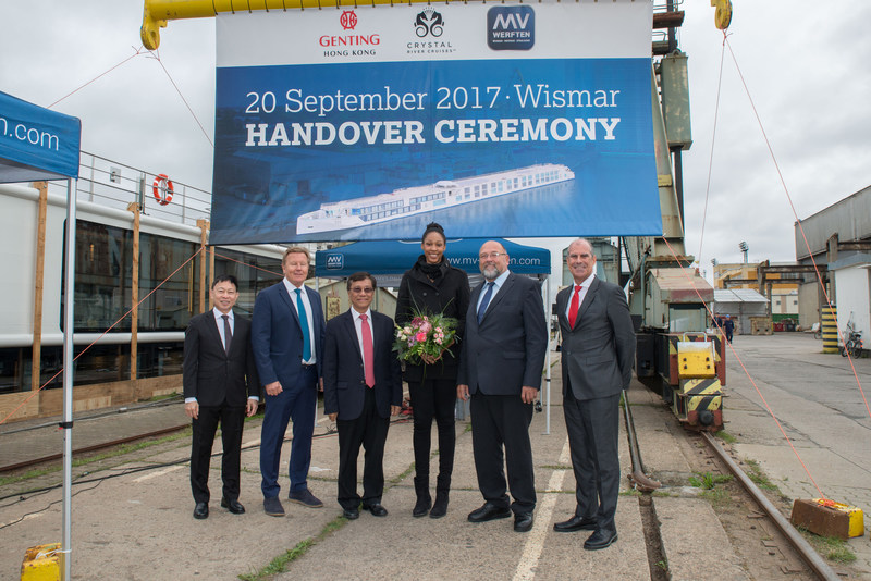 Crystal River Cruises welcomed Crystal Mahler to its fleet today in Germany during a handover ceremony held at MV WERFTEN Shipyard. (From Left) Colin Au, Group President of Genting Hong Kong; Gustaf Gronberg, Senior Vice President of Marine Operations of Genting Cruise Lines; Tan Sri Lim Kok Thay, Chairman of Genting Hong Kong and Crystal Cruises; Lauren Barfield, Godmother of Crystal Mahler; Harry Glawe, Mecklenburg-Vorpommern's Economics Minister; Tom Wolber, President and CEO of Crystal.