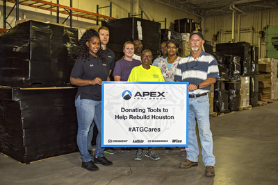 Apex Tool Group associates at the company's Apex, North Carolina distribution center are proud to be shipping thousands of demolition and construction tools to the Houston Community ToolBank to be used in recovery efforts from Hurricane Harvey.  Just some of the 50-plus pallets of tools can be seen behind our associates, with the Harvey relief tool shipment representing an in-kind donation valued at $110K. Apex Tool Group's total in-kind donation to Harvey and Irma relief organizations is $340K.