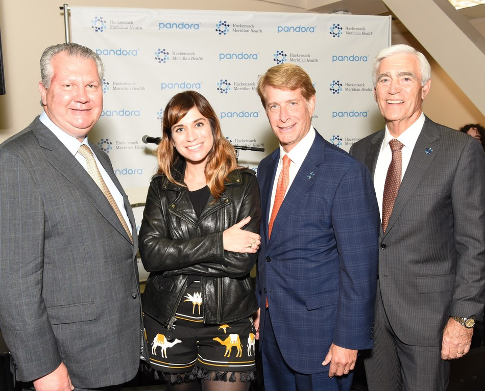 Hackensack Meridian Health announced the launch of Life Years Ahead Radio, a station specially curated by Pandora which features pop, rock and country hits by recording artists and emerging artists such as Nicole Atkins. Pictured from left to right: Ihor S. Sawczuk, M.D., president of Hackensack University Medical Center; Nicole Atkins; Robert C. Garrett, FACHE, co-CEO of Hackensack Meridian Health; and John K. Lloyd, FACHE, co-CEO of Hackensack Meridian Health.