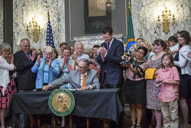 Paid Family Leave signed into Law, Sen. Karen Keiser, Gov. Inslee, Sen. Joe Fain