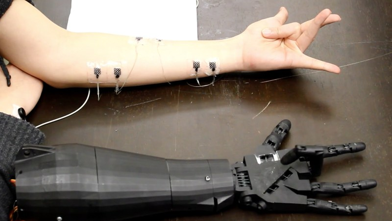 Georgia Tech, a machine arm that mimics the actions of a human arm, Photo by W. Hong Yeo
