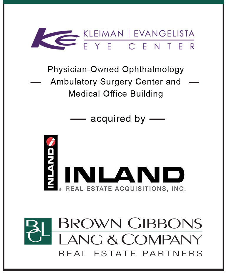 BGL Real Estate Partners (BGLREP), a division of Brown Gibbons Lang & Company (BGL), is pleased to announce the real estate sale of the Kleiman | Evangelista Eye Center, located in Arlington, Texas to Inland Private Capital. BGLREP's National Healthcare Real Estate team served as the exclusive advisors to the sellers in the transaction. BGLREP has completed 40 healthcare real estate sale transactions over the past 24 months for a total value of nearly $750 million.