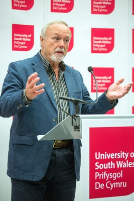 Sir Terry Matthews speaking at the launch of USW Exchange at the University of South Wales this week. (PRNewsfoto/University of South Wales)
