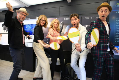 Battle of the Sexes cast members swing away in the Citizen booth during the US Open Women's Finals. (Jonathan Dayton, Valerie Faris, Andrea Riseborough, Austin Stowell, Alan Cumming)