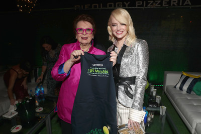 Billie Jean King with Emma Stone at the Battle of the Sexes premiere party showing off the custom made Citizen Watch aprons.