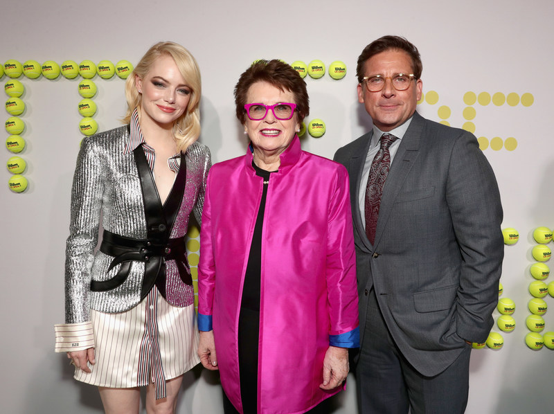 "Emma Stone, Billie Jean King and Steve Carell walk the ""green"" carpet at the premiere of Battle of the Sexes in LA."