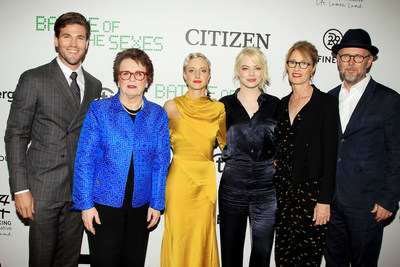 From left: Austin Stowell, Billie Jean King, Andrea Riseborough, Emma Stone, Valerie Faris, Jonathan Dayton walk the carpet at the NYC Screening for Battle of the Sexes.