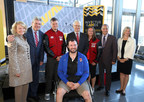 This morning at VIA Rail's Ottawa Station, the Canadian delegation of 90 military athletes boarded a train on their way to the Invictus Games Toronto 2017. On the picture: Front row: Jody Mitic, Councillor for Innes Ward at the City of Ottawa. From left to right: Karen McCrimmon, Member of Parliament for Kanata-Carleton and Parliamentary Secretary to the Minister of Transport; John Fraser, MPP for Ottawa South; Captain Simon Mailloux, co-captain of Team Canada; the Honourable Marc Garneau, Minister of Transport; Natacha Dupuis, co-captain of Team Canada; the President and CEO of VIA Rail Canada, Yves Desjardins-Siciliano; and Leona Alleslev, MP for Aurora-Oak Ridges-Richmond Hill. (CNW Group/VIA Rail Canada Inc.)