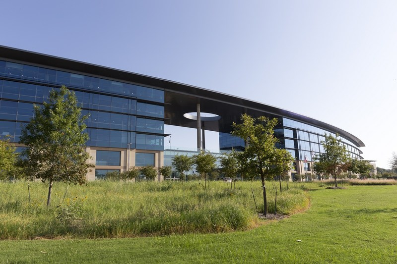 Toyota Motor North America received three LEED Platinum from the U.S. Green Building Council for green building techniques, such as sustainable landscaping. Exterior landscaping features drought-tolerant, North Texas indigenous plants like savannah, oaklands and wildflower meadows.