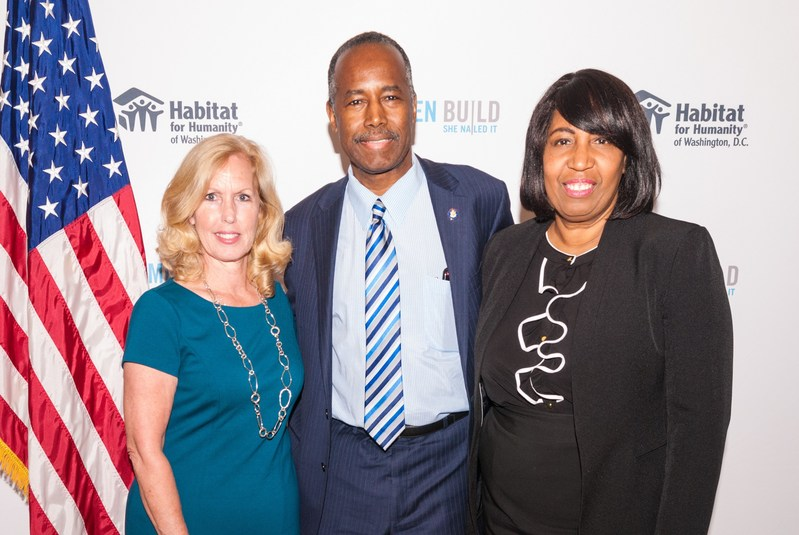 From left to right, Debbie Ames Naylor of PenFed, HUD Secretary Ben Carson and Mrs. Candy Carson.