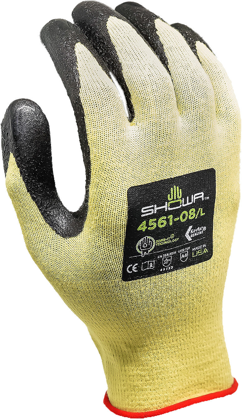 The new SHOWA® 4561 is made in the USA and boasts cut-resistant 15 gauge Kevlar® construction. This allows the glove to be lightweight and stronger than other offerings. The 4561 is the only one of its kind which holds an ANSI A4 Cut Level, other gloves on the market only reach ANSI A3. The A4 rating means that the 4561 will stand up to higher cut forces.