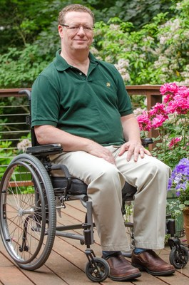 Michael Martignetti, a resident of Lexington, Mass., who has a life-shortening, progressive neuromuscular disease called Friedreich's Ataxia and is a supporter of the Mass. End of Life Options Act