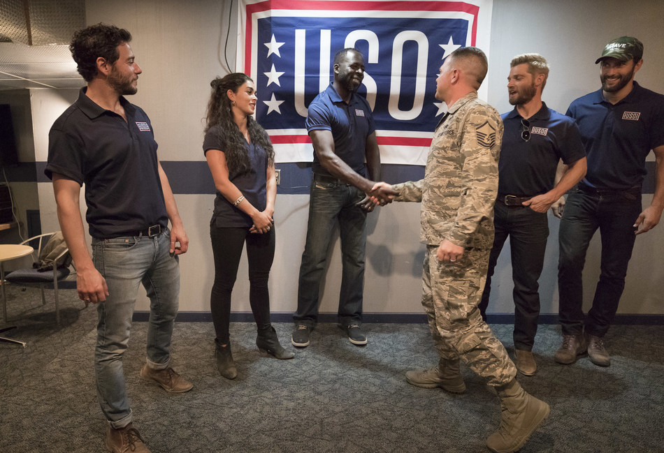 "Cast of NBC's ""The Brave"" visit with service members and their families during USO tour to Kirtland Air Force Base. USO photo by Fred Greaves"