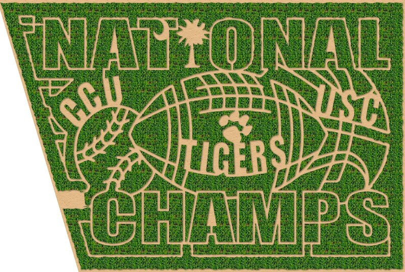 Denver Downs Corn Maze -This year's maze design celebrates the State of South Carolina's three National Collegiate Championships won in the past year - Clemson University winning the National Football Championship, University of South Carolina Women's Basketball winning the NCAA Championship, and Coast Carolina Baseball winning the College World Series.