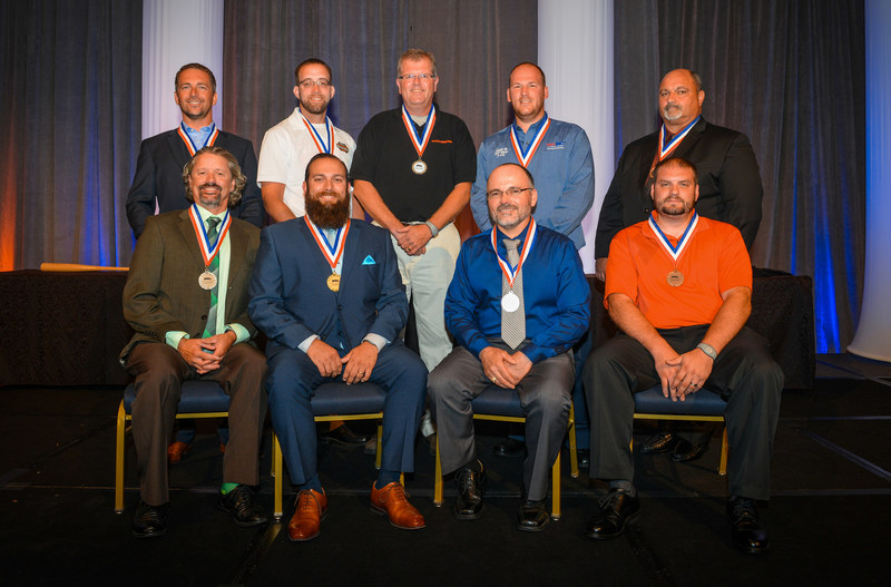 The 2017 winners include (left to right rear) Gary Noyes of Shamrock Foods Company, Adam Caughey of Reinhart Foodservice, Glenn Anderson of Eby-Brown Company, Matt Baker of Team Sledd, and Larry Wilson of Delhaize America Transportation. (Left to right front) Danny Duke of Shamrock Foods, Anthony Garcia of Shamrock Foods, Joaquin Cuadras of McLane Foodservice Distribution, and Andrew Spindler of Eby-Brown Company.