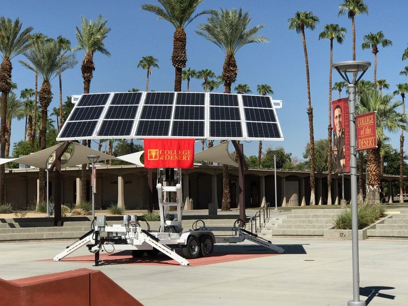 College of the Desert today deployed a first-of-its-kind, renewable energy mobile unit made by JLM Energy. Foldrz& is fully equipped with the ability to generate, store and distribute power to critical operations, including& integration with third-party generators, hydraulic motion controls, and& the ability to track the sun.