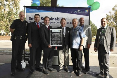 """City of Simi Valley leaders with the OpTerra project team who built the city-wide solar program during the """"Flip the Switch"""" event on Wednesday, September 20, 2017."""