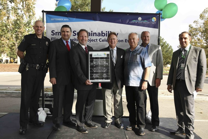 "City of Simi Valley leaders with the OpTerra project team who built the city-wide solar program during the ""Flip the Switch"" event on Wednesday, September 20, 2017."