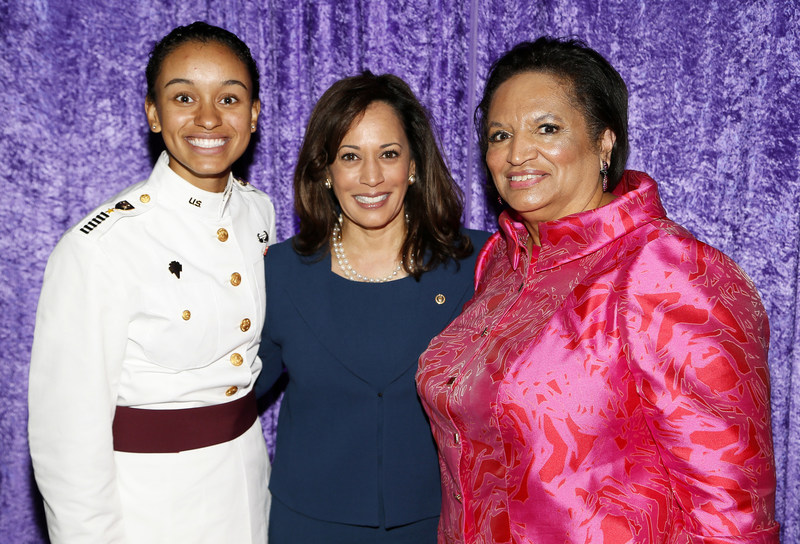 The Black Women's Agenda, Inc. (BWA) celebrated its 40th anniversary by honoring the achievements of six phenomenal women at its Annual Symposium Workshop & Awards Luncheon on September 22, 2017 in Washington, D.C. BWA President Gwainevere Catchings Hess, right, is pictured here with awardees Cadet Simone Askew, left, the first African-American woman to lead the Corps of Cadets at West Point, and U.S. Senator Kamala Harris. (Paul Morigi/AP Images for The Black Women's Agenda, Inc.)