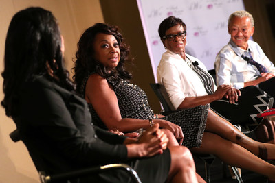 """Nearly 700 women attended the """"Living Your Best Life"""" workshop hosted by The Black Women's Agenda, Inc. during its 40th Annual Symposium Workshop & Awards Luncheon in Washington, DC. Star Jones, 2nd left, attorney, author and television personality, moderated the panel which included, among others, left to right, Michelle Ebanks, President, Essence Communications, Inc., AT&T Senior VP Claudia Jones, and Nikki Giovanni, celebrated poet and activist. (Paul Morigi/AP Images for The Black Women's Agenda, Inc.)"""