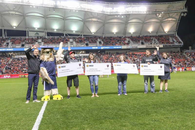 Western Governors University (WGU) and Real Salt Lake (RSL) teamed up to grant scholarships worth a year's tuition to four local students last Friday.