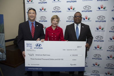 (L-R) David Kim, Vice President of Government Affairs of Hyundai Motor America, Linda Mathes, National Capital Region Chief Executive Officer of the American Red Cross and  Zafar Brooks, Director of Corporate Social Responsibility and Diversity & Inclusion of Hyundai Motor America