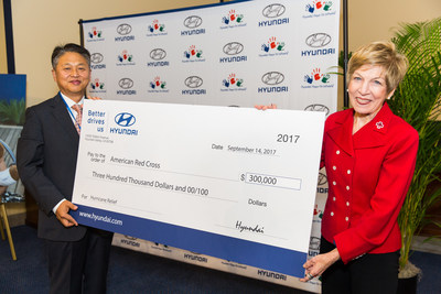 Harry Han, Chief Executive Coordinator of Hyundai Motor America and Linda Mathes, National Capital Region Chief Executive Officer of the American Red Cross