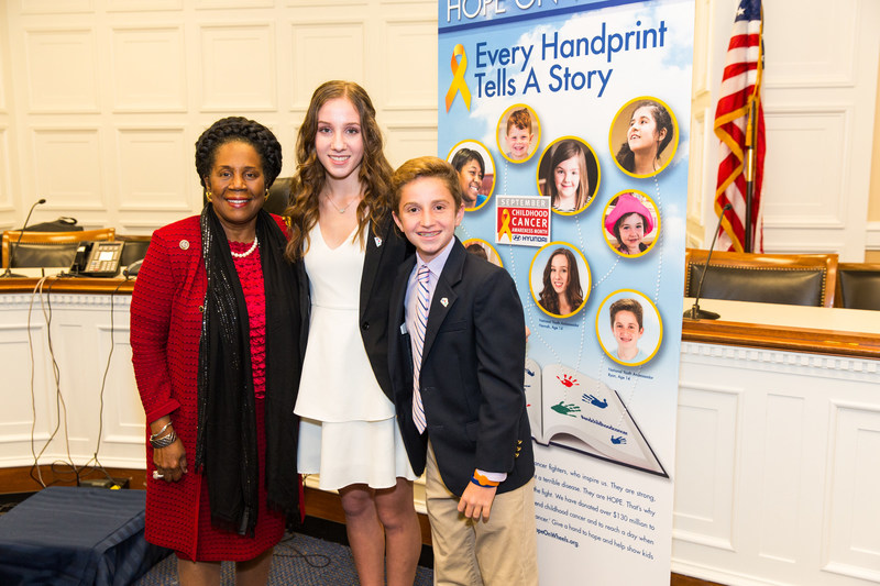 Rep. Sheila Jackson-Lee with Hannah Adams and Ryan Darby