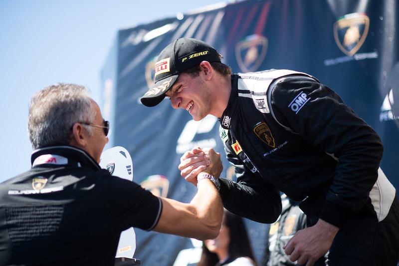 Austin Versteeg Celebrates a Two-Race Sweep at Laguna Seca with Maurizio Reggiani - Chief Technology Officer of Automobili Lamborghini