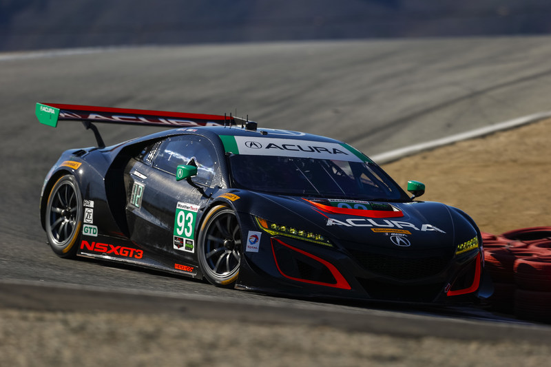 Andy Lally and Katherine Legge drove their Acura NSX GT3 to second place Sunday at Mazda Raceway Laguna Seca. It was the fourth podium finish of the season -- including two victories -- for the pair and their Acura.