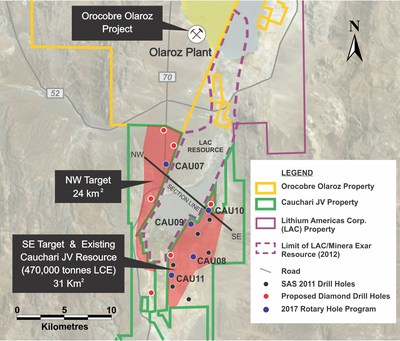Figure 1: Location of the CAU10 and CAU09 drill holes relative to previous drilling. (CNW Group/Advantage Lithium Corp)